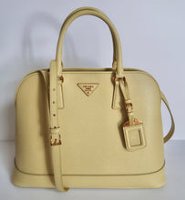 Load image into Gallery viewer, AUTHENTIC Prada Yellow Saffiano Promenade PREOWNED (WBA139)