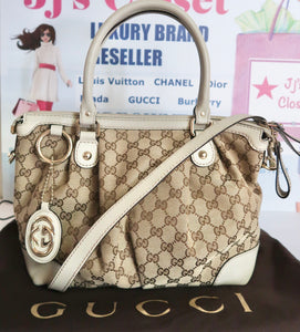 AUTHENTIC Gucci GG Canvas Sukey Off-White Top Handle CB Bag PREOWNED (WBA124)