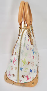 AUTHENTIC Louis Vuitton Alma White Monogram Multicolor PM PREOWNED (WBA224)