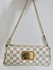 AUTHENTIC Louis Vuitton Eva Clutch Damier Azur PREOWNED (WBA234)