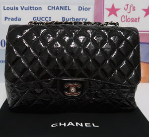 AUTHENTIC Chanel Classic Single Flap Distressed Patent Quilted Leather PREOWNED (WBA208)