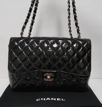 Load image into Gallery viewer, AUTHENTIC Chanel Classic Single Flap Distressed Patent Quilted Leather PREOWNED (WBA208)