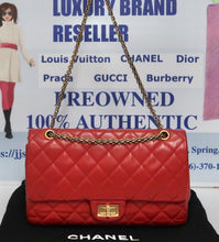 Load image into Gallery viewer, AUTHENTIC CHANEL Lambskin 2.55 Reissue 277 Double Flap Red PREOWNED (WBA243)