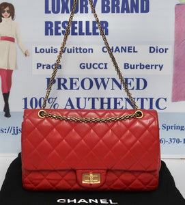 AUTHENTIC CHANEL Lambskin 2.55 Reissue 277 Double Flap Red PREOWNED (WBA243)