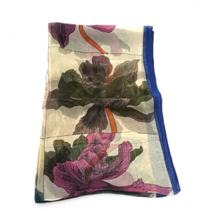 Silky Scarf - Border Blooms