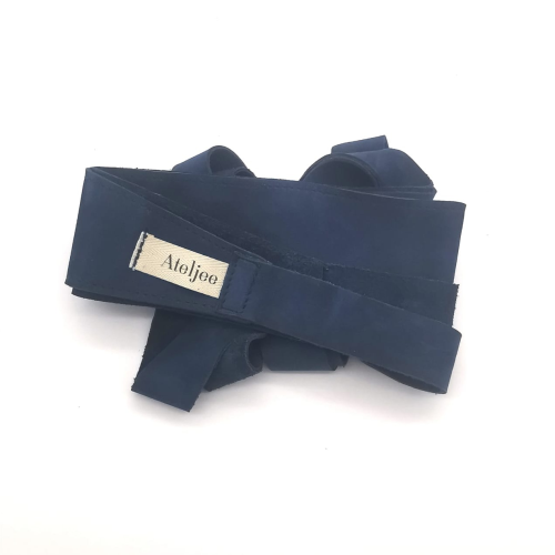 Wrap Around belt with stitching - Indigo suede