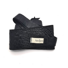 Load image into Gallery viewer, Wrap Around belt with stitching - Black Italian Croc
