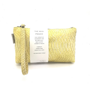 Midi-Pouch Leather - 2020 Summer / Yellow Debossed Snakeprint