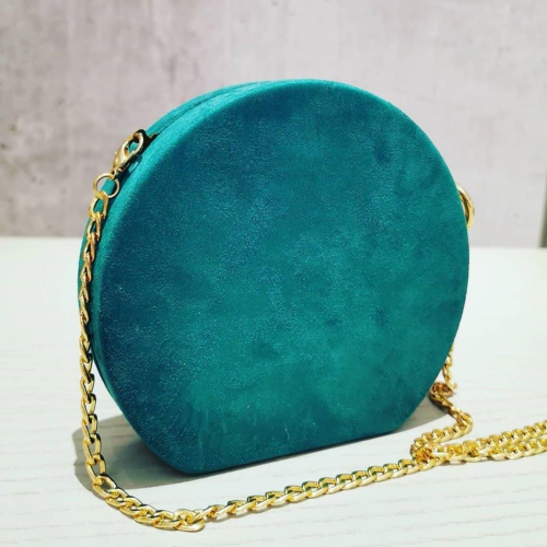 Suedette circle glam bag