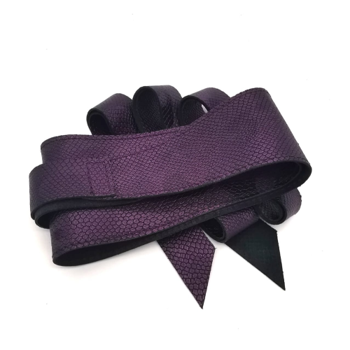Wrap Around belt with stitching - Deep purple Italian debossed snake