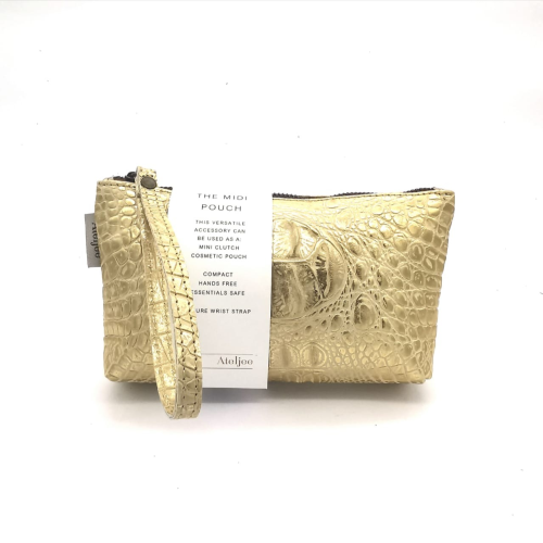 Midi-Pouch Leather - 2020 Summer / Gold Croc Print