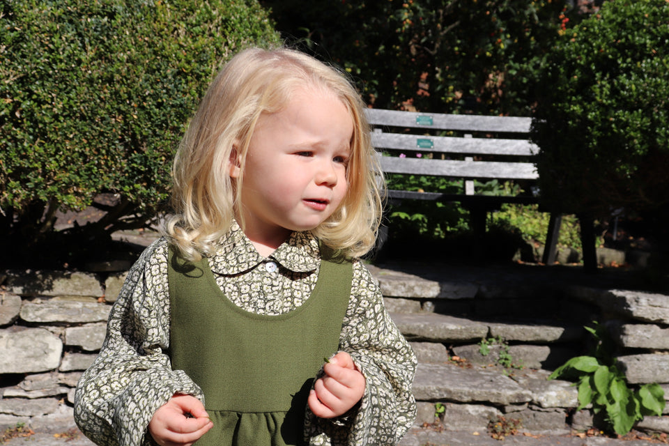 Ethically made wool crepe pinafore and a cupro blouse