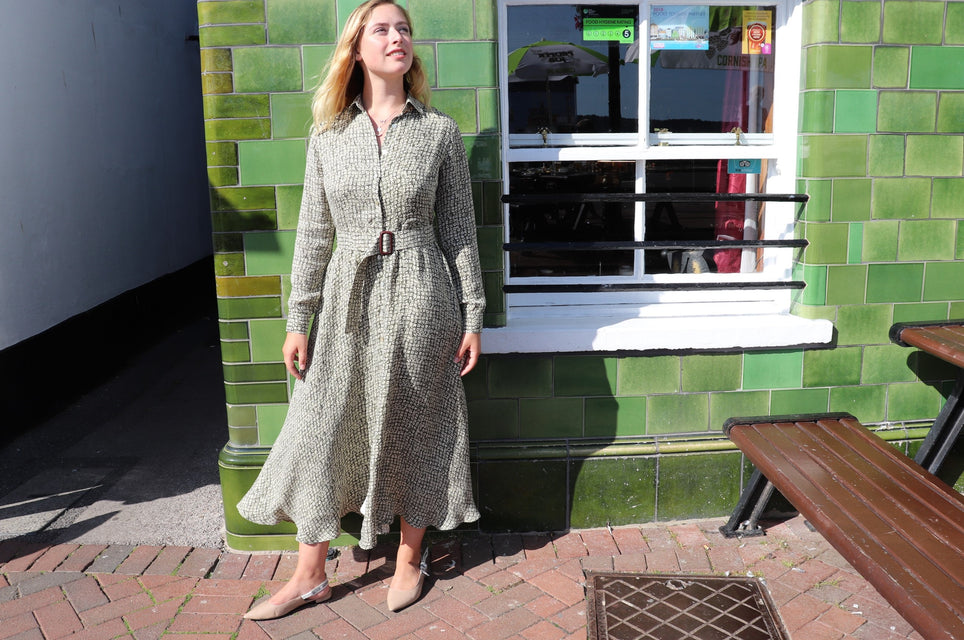 Vegan Cupro dress by sustainable fashion brand Atelier MorganMarsh