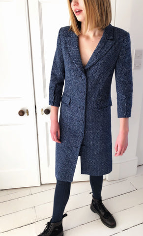 Ethically Made Blue Cotton Tweed coat dress lined in pure silk. Button through with three quarter sleeves.