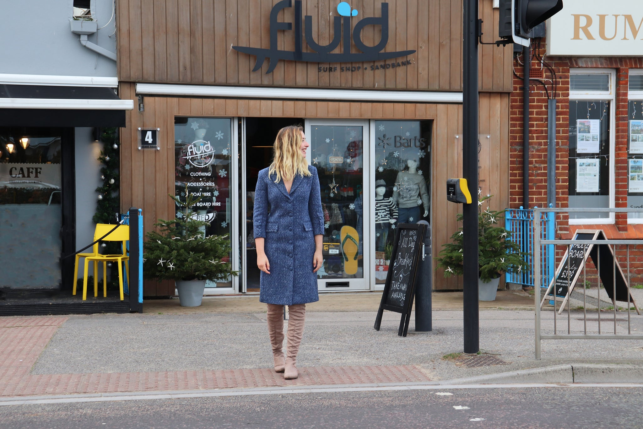 Blue cotton tweed coat dress, ethically made by sustainable fashion brand Atelier MorganMarsh
