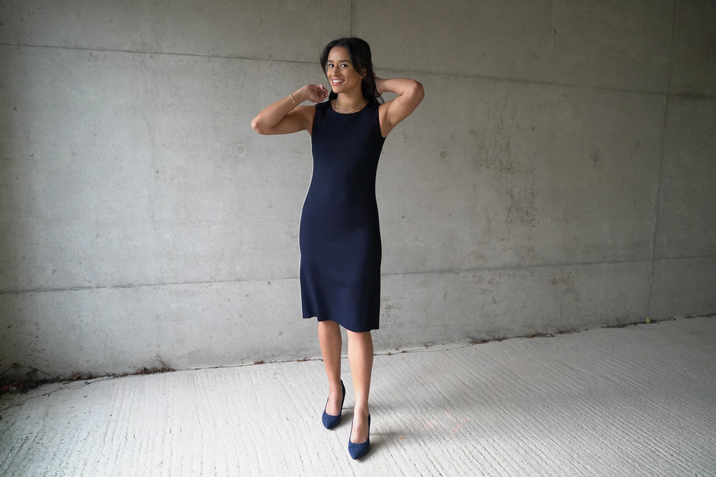 Wool crepe shift dress - sleeveless, falling to just below the knee. Lined with 100% pure silk.