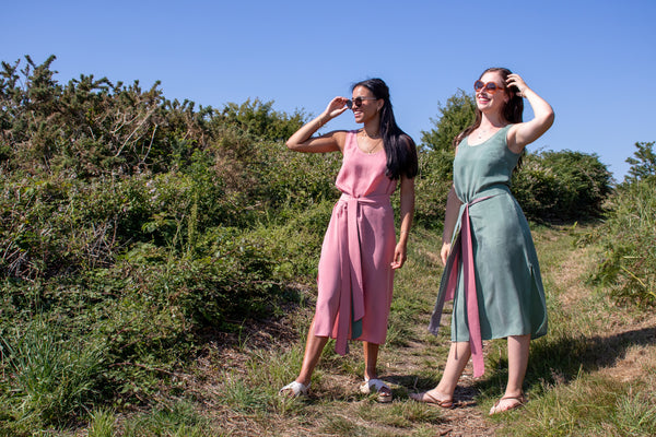 Ethically Handmade Green and Burnt Pink Vegan Cupro Midi Summer Dresses