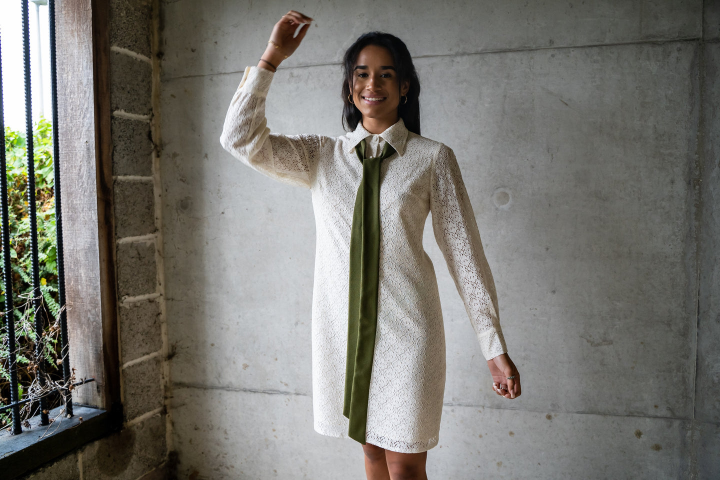 Cotton lace shirt dress by slow fashion brand Atelier MorganMarsh