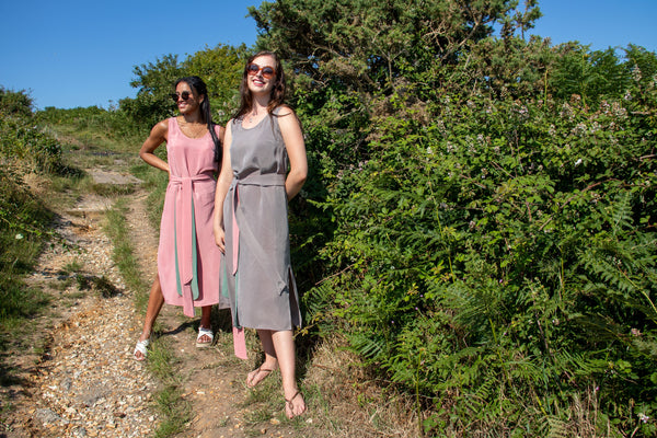 Ethically Handmade Grey and Pink Vegan Cupro Midi Summer Dress