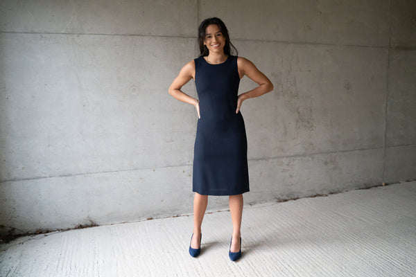 Navy Wool Crepe shift dress - sleeveless, falling to just below the knee. Lined with 100% pure silk. Opens at the back with covered buttons.