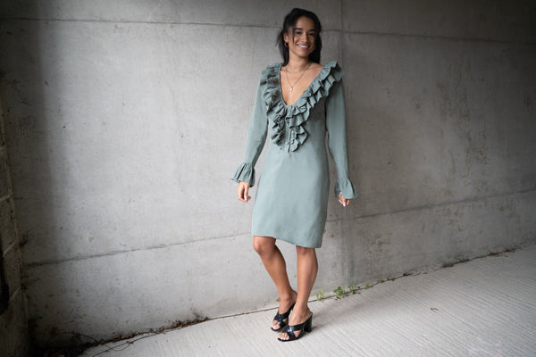 Green Vegan Cupro Short Ruffle Dress by Ethical clothing brand Atelier MorganMarsh