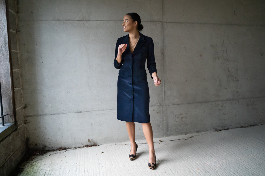 Navy Cotton Velvet button through coat dress ,ethically handmade and lined with pure silk.