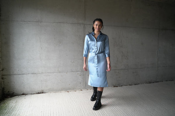 Sky Blue silk shirt dress, lined with pure silk.