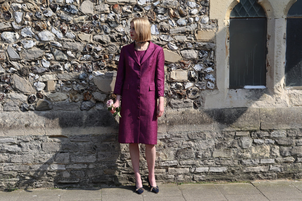 Silk,linen blend coat dress by ethical clothing brand Atelier MorganMarsh