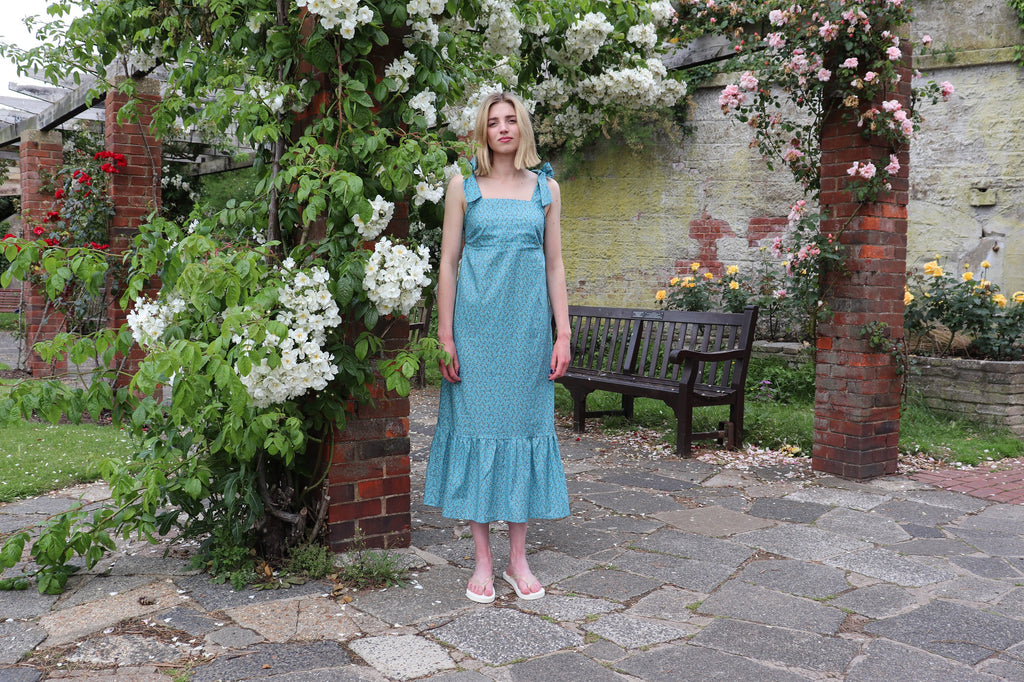 Ethically made Teal print sun dress with tie shoulders and deep frill by sustainable fashion brand atelier morganmarsh