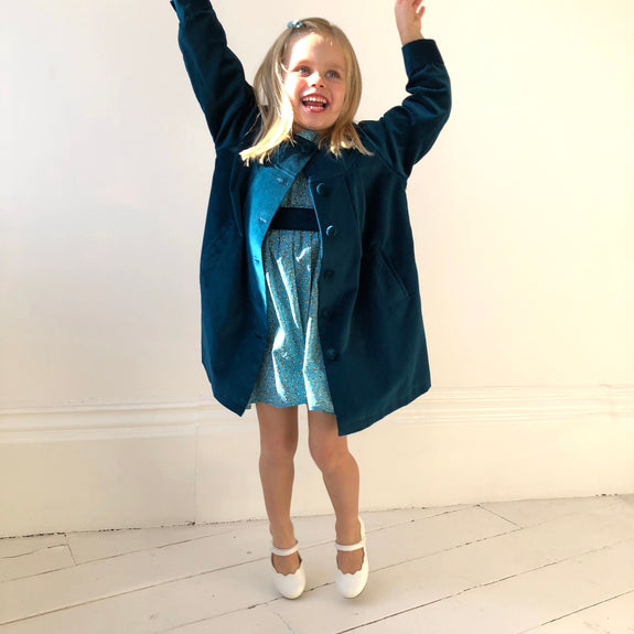 ethically made sustainable teal cotton velvet coat dress for little girls lined with organic cotton