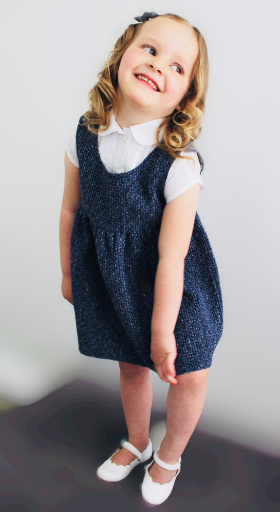 Sustainable and Ethical Fashion, Children's Collection: Mini Me pinafore in Italian Tweed in shades of blue - wear with a long or short sleeve blouse or jumper. Match with blue velvet coat to be a complete smarty.