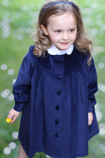 Sustainable and Ethical Children's Collection: Cotton Velvet Coat with Covered Buttons - lined with organic cotton