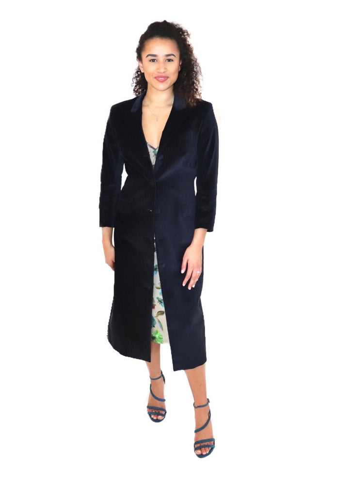 ethically made sustainable floral slip dress shown with velvet coat dress - available separately