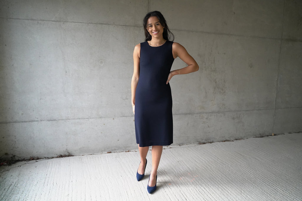 Navy Wool Crepe shift dress - sleeveless, falling to just below the knee. Lined with 100% pure silk