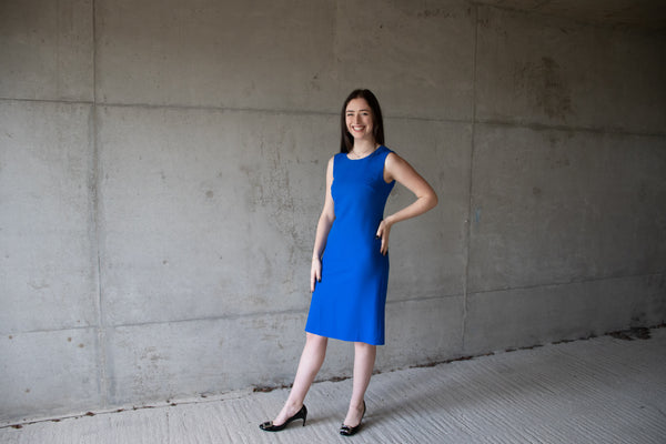 Royal blue wool crepe shift dress - sleeveless, falling to just below the knee. Lined with 100% pure silk.