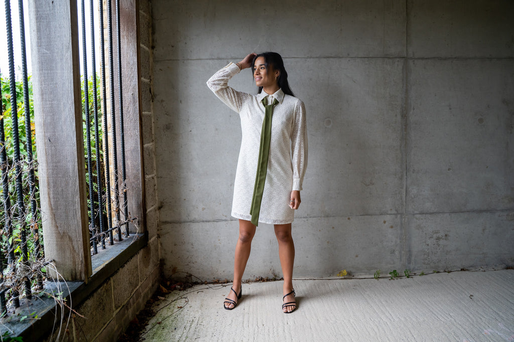 Sidney  ecru cotton lace shirt dress, ethically  made by Atelier MorganMarsh