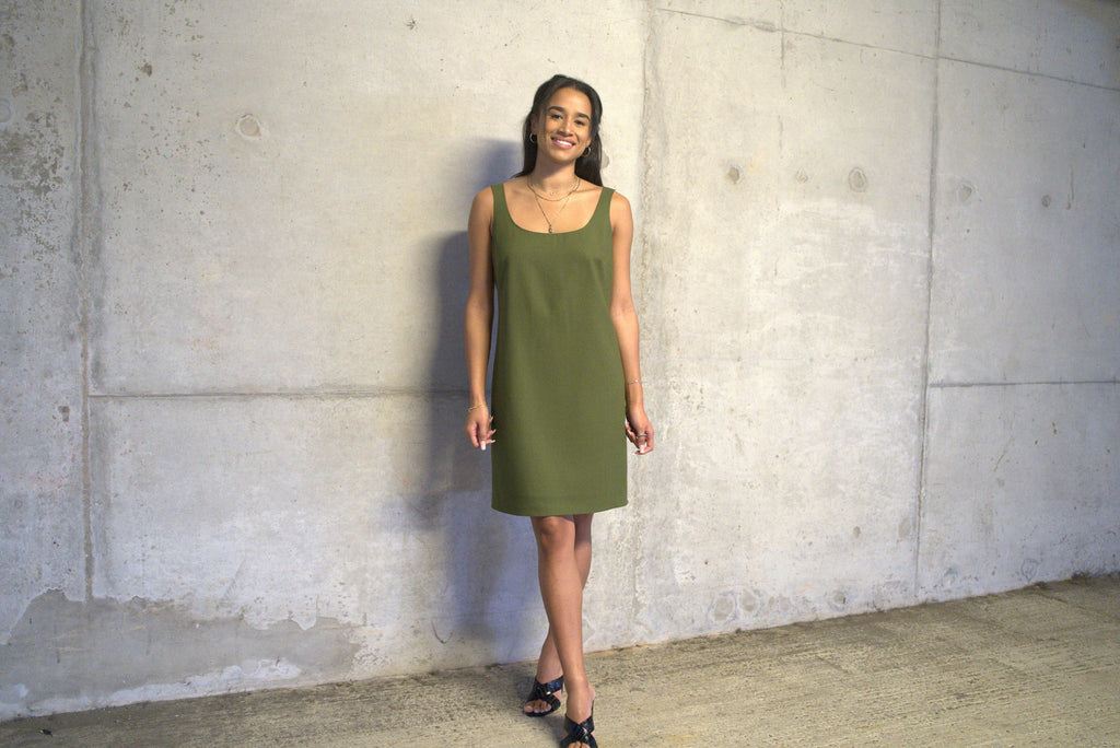 Khaki wool crepe dress, lined with Cupro .Ethically made by sustainable fashion brand Atelier MorganMarsh