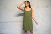 Khaki wool crepe  short dress, lined with sustainable  fashion brand Atelier MorganMarsh