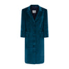 Teal  Cotton Velvet button through coat dress ,ethically handmade and lined with pure silk.