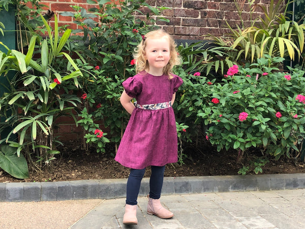 Silk and Linen Child's Dress in Pink
