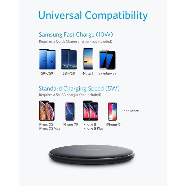 Anker 10W Wireless Charger Qi-Certified Wireless Charging Pad for iPhone Xs Max/XR/XS/X/8/8 Plus Galaxy S9/S9+/S8/S8+/Note 9 etc