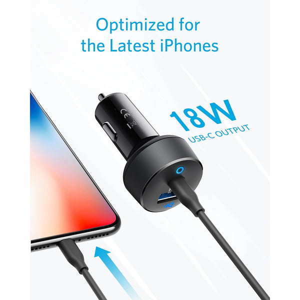 Anker Car Charger USB C 30W 2-Port with 18W Power Delivery and 12W PowerIQ PowerDrive PD 2 with LED for iPad iPhone and  more