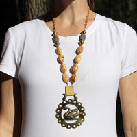 Swan Horse Brass Necklace on Model