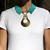Eclipse Horse Brass Necklace on Model