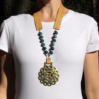 Woven Design Horse Brass Necklace on Model