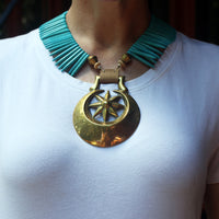 Eclipse with Star Horse Brass Necklace on model