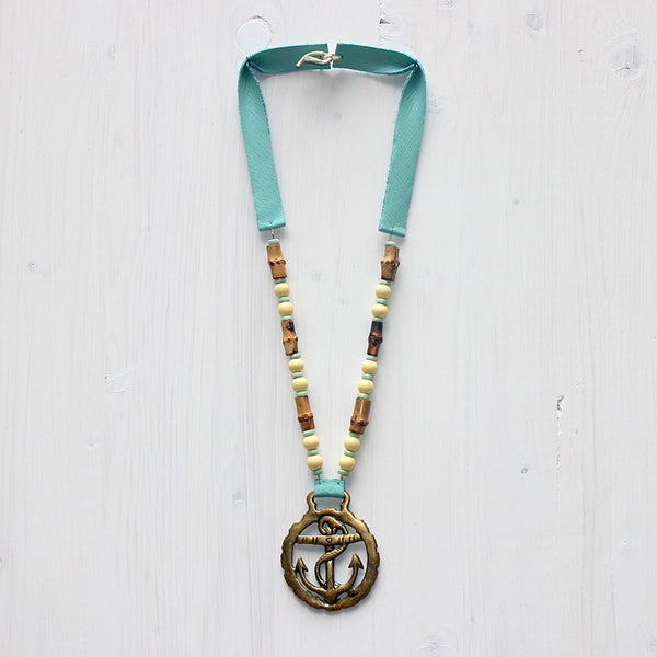 Anchor horse brass necklace