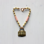 Small Barrel horse brass necklace