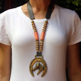 Horseshoe with Horse Head, Cream and  Coral