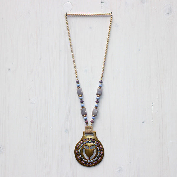 Woven Tulip Horse Brass Necklace